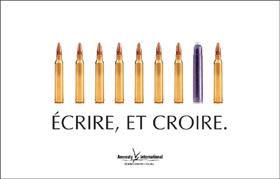 Annonce pour Amnesty International (cartouche contre cartouches…)