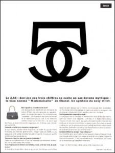Illustration d'un article sur le « 2.55 » (nom de code pour février 1955), un sac de chez Chanel.