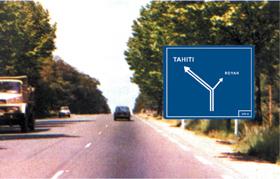 Signalisation du restaurant en bord de route. (étude)
