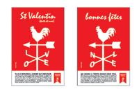 Annonces « St Valentin » et « Noël » (recherches) : les 4 lettres de la girouette « TOIT » y dessinent de nouveaux mots de 4 lettres, des mots forts à propos…