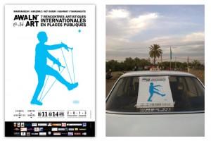 Visuels pour un festival d'arts de la rue au Maroc : retour à une communication plus généreuse, universelle : un texte informatif repensé, une icône par saison, lisible de tous -lettrés ou non- et inspirée des icônes murales du Maroc qui traditionnellement représentent les candidats aux élections...
